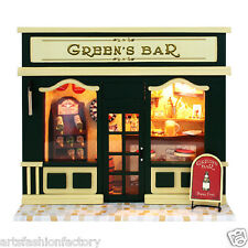 Wooden Dollhouse Miniatures DIY Bar House Kit w/Led Light Pub Restaurant  Loung