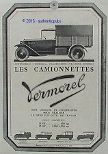 PUBLICITE VERMOREL LES CAMIONNETTES 10 HP 15 HP AUTOMOBILE DE 1923 FRENCH AD PUB