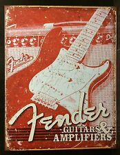 Retro Fender Guitar & Amp TIN SIGN Bar Garage Vtg Metal Wall Decor