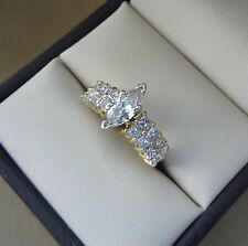 14K YG 1.30 TCW MARQUISE DIAMOND SOLITAIRE ENGAGEMENT RING W/ PRINCESS CUTS