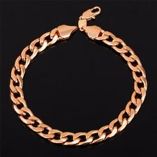 STAMPED REAL18K ROSE GOLD FILLED MENS LINK CHAIN BRACELET 9 INCHES 8MM  20 GRAMS