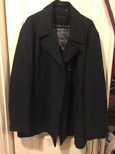 $275 CALVIN KLEIN Mens CLASSIC PEACOAT Grey WOOL COAT Double breasted XL