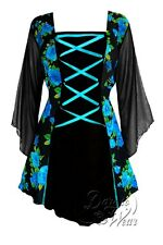 MANDARIN Gothic Victorian Corset Top TEAL ROSE Size 2X, 2XL