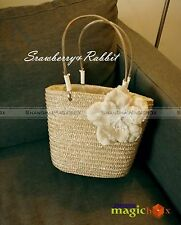 Women Sweet Straw Beach Flower Small Tote Shoulder Bag Beige WBG385