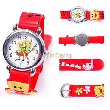 Hot Cartoon Sponge 3D Child Boy Girl Analog Quartz Wristwatch Rubber Gift BI