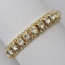"""6.89 """" 18K Yellow Gold Filled Round Crystal Tennis Stretch charms bracelet"""