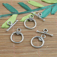 10sets tibetan silver color round flower toggle clasps h3988