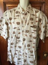 Mens WOOLRICH Short Sleeve Button Front Fish Fishing Print SHIRT, L Large