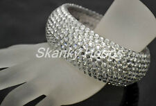 NEW FASHION BLING ACRYLIC WOMENS CHUNKY WIDE CLEAR  BRACELET CLEAR RHINESTONES