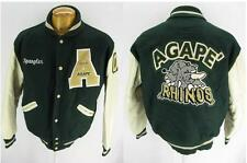 Mens Vintage AGape Rhino Rhinos DeLong Wool Leather Varsity Bomber Jacket M