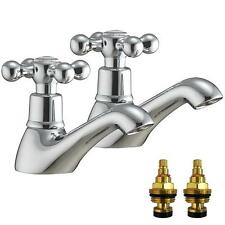 Victorian Antique Old Style Chrome Bathroom Bath Hot & Cold Taps (Viscount 3)