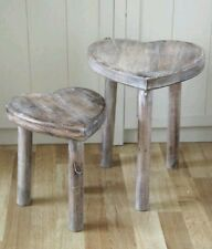 BRAND NEW PAIR OF SASS AND BELLE HEART SHAPED WHITE WASHED WOODEN STOOLS