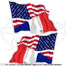USA United States America & FRANCE American-French Flying Flag 75mm Stickers x2