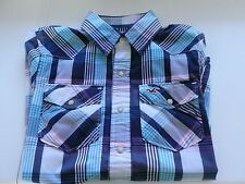 Mens Boys Hollister Stud Fastener Long Sleeve Blue Check Shirt Size S