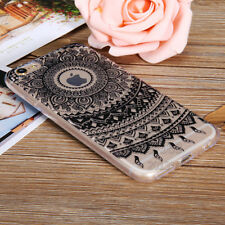 Henna Flower Pattern Clear Rubber TPU Case Cover For Apple iPhone 5 SE 6 6s Plus