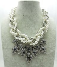 BEAUTIFUL ZARA MULTI LAYER PEARL SPARKLING STONES STATEMENT NECKLACE NEW