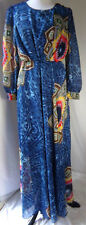 Women's Maxi Dress Gown Long Boho Colorful Long Sleeve Modest Size 38 Medium