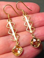 925 silver & gold plate zig-zag cut citrine earrings.