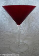 Collectible Ruby Red & Crystal Blown Glass Martini / Champagne Goblet
