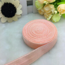 """5 Yards 5/8""""15MM Fold Over Elastic Spandex Satin Band Ties Accessorie Water Red"""