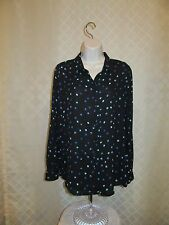 Long Sleeve Full Button front Shirt Blouse MD APT.9 Black Blue Polka Dot NWT