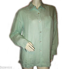 Women GREEN LONG SLEEVE BUTTON DOWN SHIRT Collar TOP Career Office Wear Medium M