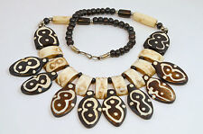 Artisan Crafted Tribal Folk Arts Dark Chocolate Carved Faux Bone Vtg Necklace