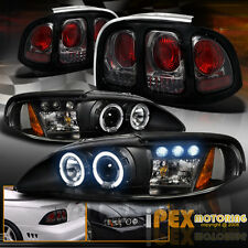 1994-1998 Ford Mustang Halo Projector LED Black Headlights + Smoke Tail Lights