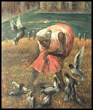 "24""x20"" Oil Painting on Canvas, Feeding the Birds, Hand Painted"