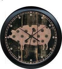 "Kitchen Pink Polka Dot Pig 10.75"" Wall Clock"