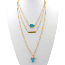 Fashion Bohemian Multi-layer gold plated long chain turquoise necklace