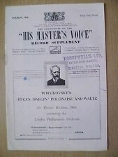 His Master's Voice Record Supplement 1946- TICHAIKOVSKY's EUGEN ONEGIN-POLONAISE