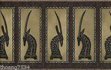 Egyptian Egypt Cow Cattle Animal Head Brown Black Crackled Wall paper Border