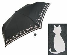 VERY CUTE STROLLING BLACK CAT FOLDING BLACK UMBRELLA, LIGHT WEIGHT