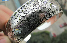 EXQUISITE TIBETAN TIBET SILVER TOTEM BANGLE CUFF BRACELET ( FLOWER ) 38