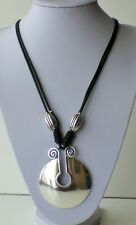 """Modern Black Twin Strand  Antiqued Silver Round Chunky Pendant Long Necklace 29"""""""