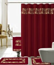 18 Piece Lilian Embroidery Banded Shower Curtain Bath Set (Burgundy)