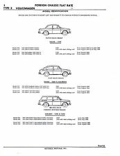 VW TYPE 3 1500 1600 NOTCH FAST SQUARE BACK CHASSIS PARTS LIST NUMBERS SHEETS IMP