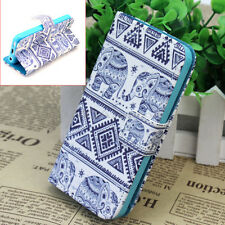 Flip Folio Elephant Print PU Leather Wallet Case Cover Protector For iPhone 5C