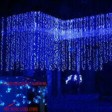Blue 1000 LED Icicle Curtain Lights String 10*3M L25 Christmas Party Tree Light