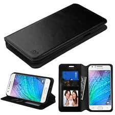 FOR SAMSUNG Galaxy J7 2015 phone BLACK WALLET LEATHER ACCESSORY SKIN COVER CASE