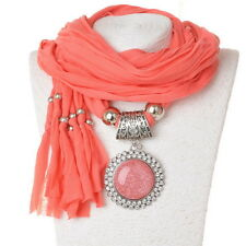 Flower Fabric Beads Round Lucite Crystal Pendant Shawl Scarf Necklace Popular