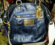 Coach Poppy Spotlight Blue Gold Metallic Sapphire Leather LG Glam Tote Bag EUC