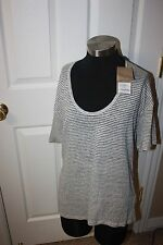 Burberry Brit Striped Tee T Shirt Top  Size  X Large NEW Women's $160
