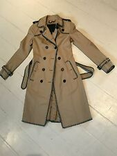 Burberry Women's Cotton Gabardine Green Blanket Stitch Trench Coat
