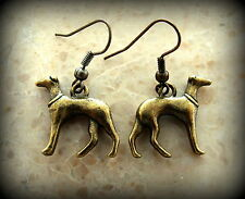 GREYHOUND Dog Pup Earrings Jewelry - Sleek Vintage Antique Art Deco style