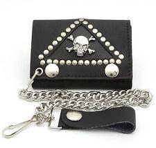 Trifold USA Made Black Leather Biker Wallet Crossbones Skull Design w/ a Chain
