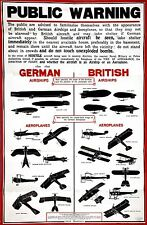 WW1 PUBLIC WARNING POSTER ZEPPELIN AIR RAIDS NEW A4 PRINT LONDON  ST PAULS