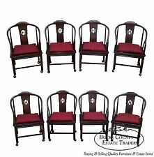 Henredon Set of 8 Solid Elm Wood Chinese Style Barrel Back Dining Chairs