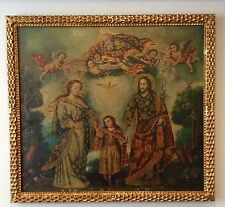 beautiful painting holy Family, oil on canvas, colonial Cuzco school